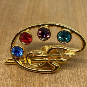 Painters palette brooch by Avon gold tone gems